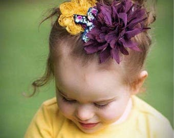 Fall Headband - Autumn Headband - Mustard Yellow, Deep Purple - Lace Headband - Shabby Flower Headband - Newborn, Child, Adult