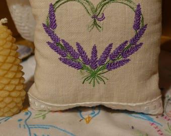 Linen Lavender Heart Wreath Embroidered Sachet