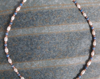 Genuine pearl and lapis  lazuli 925 necklace