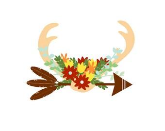 Antler SVG, Fall Antler svg, Fall SVG, Autumn SVG, deer antler svg, deer svg, fall deer svg, arrow svg, floral svg, boho svg, flower svg