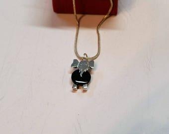 Pendant charm elephant silver Onyx vintage rare SK675