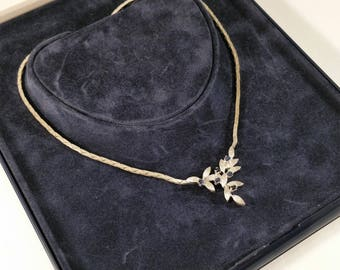 Chain necklace silver SK587 835 and 6 sapphire blue