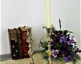 Vintage Brass Candlesticks/Pair ofVictorian Brass Candlesticks/Beehive & Diamond Candlesticks/SALE (Ref1966G)