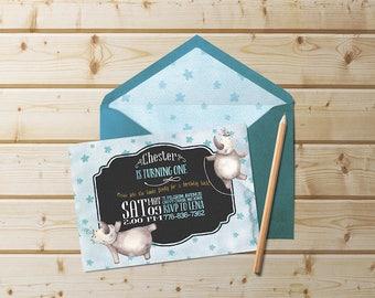 Baby Boy Birthday Invitation   Birthday Invitations, First Birthday Invite, Printable Invitations, Hippo Invitation, Cute Animal Invite