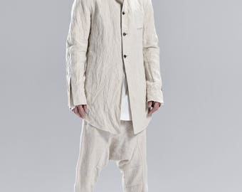 Boiled Linen Jacket / Tailored Minimalist Coat / Asymmetric Jacket /Extravagant Jacket / Futuristic Mens Clothing / Urban Mens Coat by POWHA