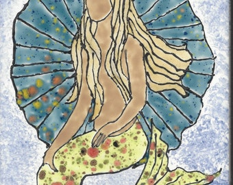 Mermaid #282 Hand Painted Kiln Fired Decorative Ceramic Wall Art Tile 8 x 6