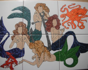 "Mermaids in an Octopus Garden Back Splash Mural Hand Painted Kiln Fired Decorative Ceramic Wall Art Tile 12"" x 18"""