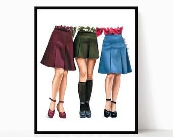 1970's fashion art - fashion art print - vintage fashion - art print - fashion artwork - art prints vintage - fashion wall art
