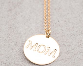 Engraved MOM necklace, Coin pendant MOM necklace, MOM engraved Pendant, Meaningful necklace, Gift for mom