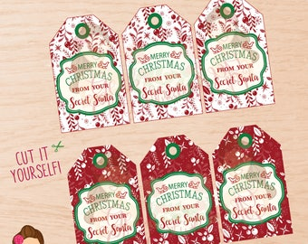 Secret Santa, Secret Santa tags, Secret Santa printable tags, Secret Santa party, Secret Santa game, Christmas tags, Christmas party.