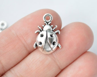 10 Pcs Ladybug Charms Antique Silver Tone 19x14mm - YD1904
