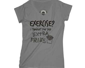 Extra fries shirt exercise t-shirt motivation t-shirt cheat day shirt with sayings funny t-shirt normcore t-shirt health goth shirt APV16