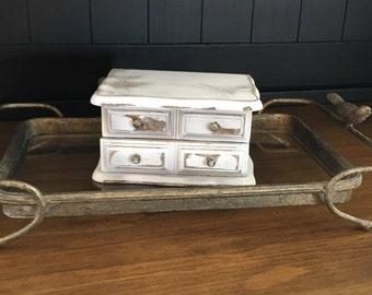 Vintage Jewelry Box, Shabby Chic White Jewelry Box