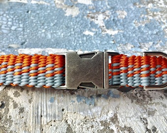 Orange Grey Dog Collar