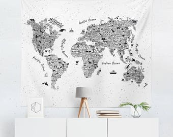 World Map Wall Decor world map wall art | etsy
