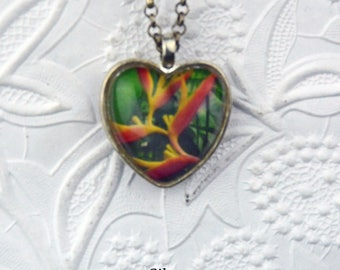 Tropical Flower Photo Necklace from Hawaii the Big Island Tropical Flowers Flower Jewelry Photo jewelry