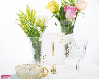 Gold Confetti and Blush Table Numbers, Also available in Rose Gold, Silver, Copper Foil Style #0128