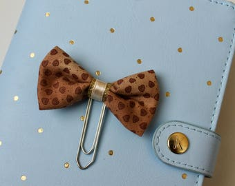 Gingerbread Heart -fabric bow planner clip