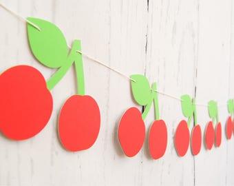 CHERRY BANNER - RTS Banner - Cherry Garland - Cherries Banner - Cherries Garland - Tutti Frutti Theme - Tutti Frutti Banner - Fruit Banner -