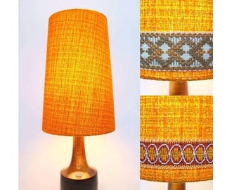 Retro Lampshade, Original Fabric, Extra Tall Conical, 60s/70s Orange, Gold, Vintage