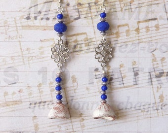 Ethnic Beaded Earrings, Oriental Earrings, Moroccan Earrings, Ceramic Bell, Hammered Metal Pendant, Boho Chic, Dangle Earrings