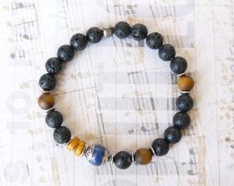 Mens Beaded Bracelet, Tiger Eye Boho Bohemian Ethnic Tibetan Buddhist Mala, Lapis Lazuli, Elastic Bracelet, Mens Gift Idea, Boyfriend Gift