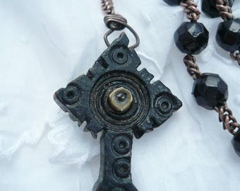 Antique French Ebony Stanhope Rosary, Stanhope Lourdes Rosary, Rosary Black Cut Glass Beads, Stanhope Rosary, 1900's.