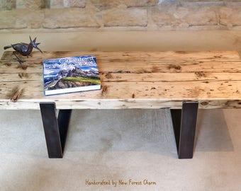 Modern Rustic Coffee Table Industrial Chic Table Reclaimed Wood Urban  Industrial Handmade Iron Legs