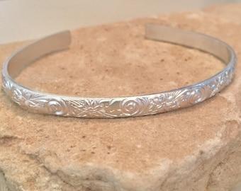 Sterling silver cuff bracelet, pattern cuff bracelet, stackable sterling silver bracelet, sterling silver cuff, silver bracelet