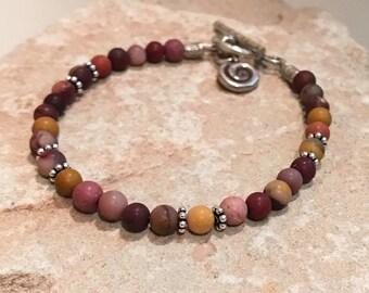 Red bracelet, gemstone bracelet, sundance style bracelet, sterling silver bracelet, Hill Tribe silver bracelet, gift for her, charm bracelet
