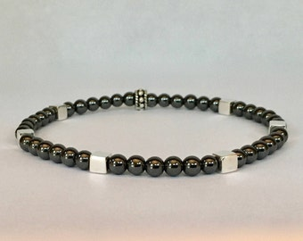 Men's hematite bracelet with bali sterling silver