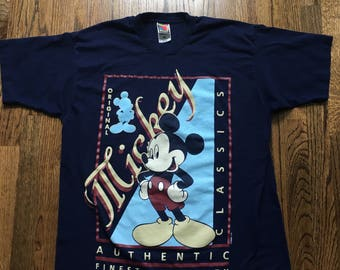 Vintage 90s Mickey Mouse Walt Disney T Shirt Size XL Graphic Blue Red Yellow Movie