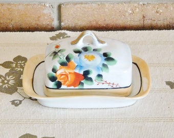 Lusterware vintage ceramic covered butter dish, floral design, 1960s kitchenalia