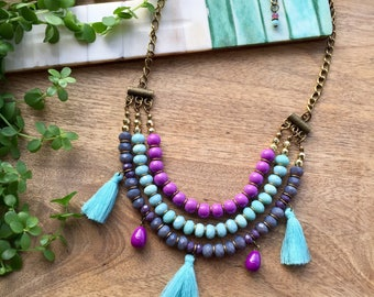 Multistrand Necklace | Layered  Necklace | Tassel Necklace | Purple & Turquoise Necklace | Boho Necklace | Delicate Necklace | Gift for Her