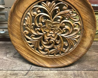 Vintage Wall Hanging Round Wood Floral