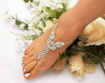 Wedding Barefoot Sandals, Bridal Foot Jewelry, Gold or Silver Plated Rhinestone Foot Jewelry, Footless Sandal-SD012