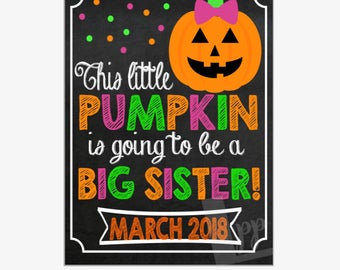 Halloween Pregnancy Announcement   Big Sister Pregnancy Announcement   Pregnancy Reveal Sign   Printable Chalkboard Sign   Design PA17021