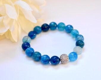 Blue Agate Bracelet, Stretch Bracelet, Blue Gemstone Bracelet, Women's Bracelet, Healing Stone Bracelet,  Agate Bracelet, Beaded Bracelet