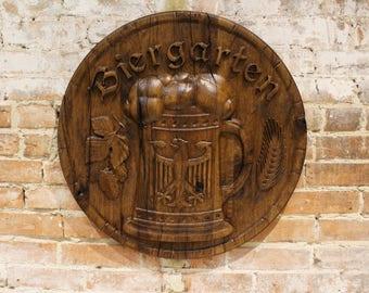 Biergarten Sign, Post Oak