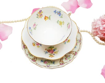 Mismatched Teacup Trio Pink Floral, Wedding Gift Bridal Shower Gift for Her