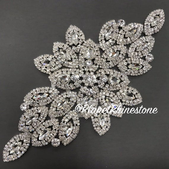 Silver Large Rhinestone Applique #A-02