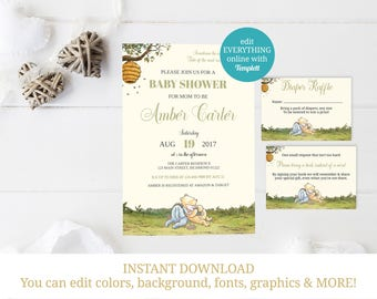 Winnie the Pooh Baby Shower Bundle, Pooh Baby Shower, Classic Pooh, Winnie Pooh Invite, Diaper Raffle, Bring a Book, INSTANT DOWNLOAD
