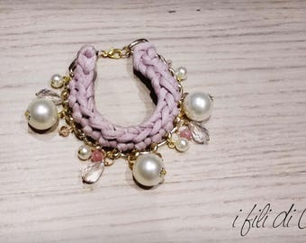 exaggerated/chain bracelet with pink powder strap and pearls/gift idea