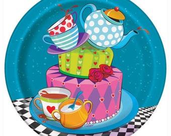 Alice in Wonderland ''Mad Hatter Tea Party'' Dessert Paper Plates 8ct