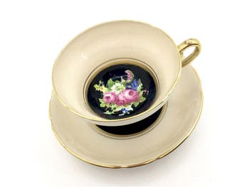 Stanley Tan and Black w/ Rose Bouquet Tea Cup- Vintage English Tea Cup- Tea Party - Tea Cup Collector - Gifts for Her