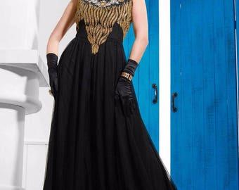 Indian Designer Black Colored Faux Georgette Salwar Suit Anarkali heavy Zari embroidered Suit Dress Sleevless