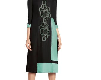 Indian Pakistan Bollywood Designer Kurti Designer Women Ethnic Black Colored Modal kurtis Top Tunic Kurta women kurti top