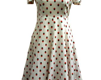 60s-70s Japan Vintage Candy Lady Day Dress, Tea Dress, Summer Dress, Smart Casual Dress