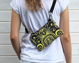 Yellow Fanny Pack Festival, Mini Waterproof Bag, Black Yellow Mandala Bumbag, Boho Bag, Vegan Bag, Belly Bag, Waterproof Bag, Gift idea