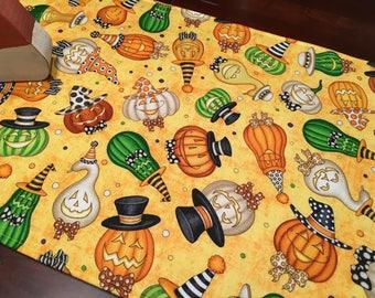 "Halloween Pumpkins Table Runner - 40"" Table Runner - Pumpkin Table Runner - Candy Corn Decor - Jack O Lantern Runner - Fall Table Runner"